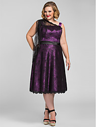 TS Couture® Cocktail Party / Homecoming / Holiday Dress - Elegant Plus Size / Petite A-line Tea-length Lace / Stretch Satin withLace / Sash / Ribbon