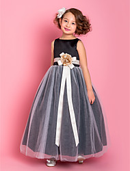 A-line Princess Floor-length Flower Girl Dress - Satin Tulle Scoop with Flower(s) Sash / Ribbon