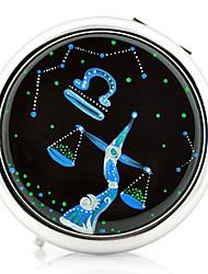 Libra Constellation estilo portátil redonda de metal espelho de maquiagem