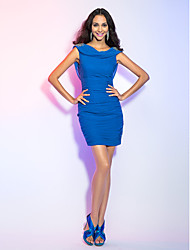 Cocktail Party / Holiday Dress - Royal Blue Plus Sizes / Petite Sheath/Column Cowl Short/Mini Jersey
