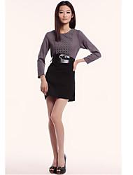 Unifo Mostrar Mujeres Ajustar todo partido gris del vestido de manga larga