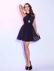 TS Couture® Cocktail Party / Holiday Dress - Black Plus Sizes / Petite A-line Halter Short/Mini Chiffon