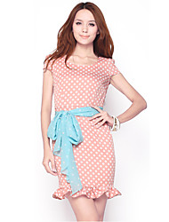 Vestido Fit Vintage Polka Dot Pink unifo Mostrar Mujeres