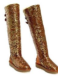 Damen Winter Knopf Pailletten Knee High Boots