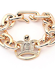 (1 pz) europeo 8Cm Unisex Oro placcato oro Chain & Link Bracelet (Golden)