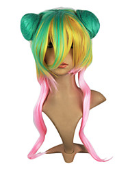Capless Synthetic Green Yellow Pink Long Curly Lolita Wig