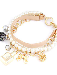 Fashionable Pearl Strand With Perfume Bottle Bowknot Charm Bracelet