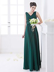 Lanting Floor-length Chiffon Bridesmaid Dress - Dark Green Plus Sizes / Petite A-line V-neck