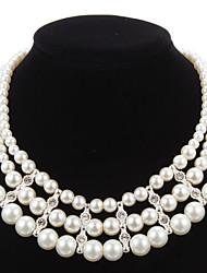 Элегантный Имитация Перл Strand с Rhinestone Женская ожерелье