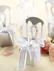 Delicate Silver Chair Candy Boxes and Card Holder With Organza Bow - Set of 12