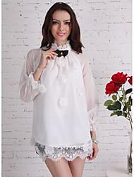Women's Vintage Palace Style Bow Lace Hem A Line Chiffon Shirt