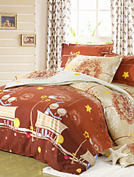 NINGHAO Print 4Pcs Cover Set:Duvet Cover,Coverlet,Pillowcase*2_20