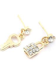 Special Lock Key Shaped With Rhinestone Women's Earrings