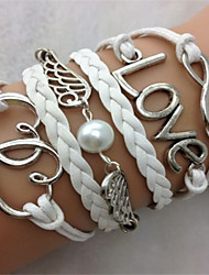 Fashion Leatherette Rope and Alloy Pearl Double Heart Bracelet