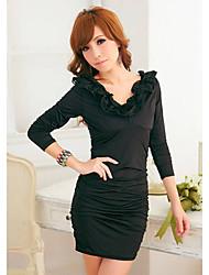 Fashiongirl Women'S U Neck Ruffle Lace-Ups Black Dress