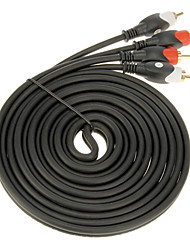 jsj® 3m 9.84ft doble RCA macho a cable macho - negro