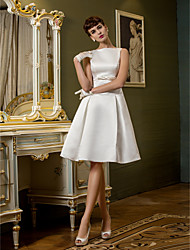 Lanting Bride® A-line Petite / Plus Sizes Wedding Dress Knee-length Bateau Satin with