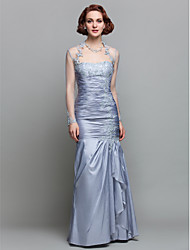 Lanting Trumpet/Mermaid Plus Sizes / Petite Mother of the Bride Dress - Silver Floor-length Long Sleeve Taffeta / Lace