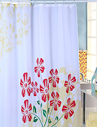 "Shower Curtain Polyester Red Flower Print W71"" x L71"""