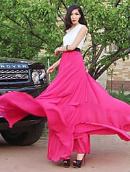 Verragee elegante cor sólida vestido longo (Fuchsia)