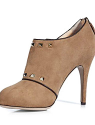 Women's Shoes Round Toe Stiletto Heel Leather Ankle Boots With Buckle More Colors available