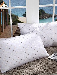 100% Cotton Geometric White Bed Pillow