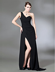 Formal Evening/Military Ball Dress - Black Plus Sizes Sheath/Column One Shoulder Sweep/Brush Train Chiffon