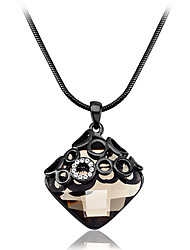 Viennois Gun Plating Crystal Square Pendant Necklace Chain
