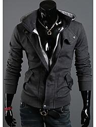 Moda de Nova delicado casaco com capuz Fleece Lazer Flannelette velo dos homens DJJM (Dark Gray)
