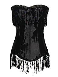 TopMelon Women's Black Tassel Corset