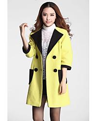 Women's Simplicity Double Button Lapel Straight Line Casual Coat