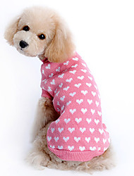 Cat / Dog Sweater Pink Winter Hearts Keep Warm