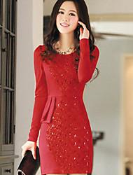 Women's Dresses , Knitwear Casual Long Sleeve Hibeibei