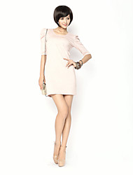 Puff Sleeve Round Neck media manga vestido rosa de unifo Mostrar Mujeres