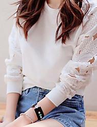 Encaje de cuello redondo de la Mujer Recortable T-shirt