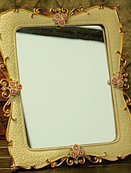 "12.25""Rose Gold Floral Style Polyresin Tabletop Mirror"