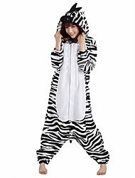 Kigurumi Pyjamas Zebra Gymnastikanzug/Einteiler Fest/Feiertage Tiernachtwäsche Halloween Schwarz-Weiss Patchwork Polar-Fleece Kigurumi Für
