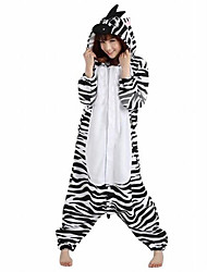 Kigurumi Pijamas Zebra Malha Collant/Pijama Macacão Festival/Celebração Pijamas Animal Branco Miscelânea Lã Polar Kigurumi Para Unisexo