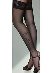 lUCKYONE Women's Black Jacquard Stockings
