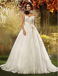 LAN TING BRIDE A-line Princess Wedding Dress - Classic & Timeless Elegant & Luxurious Vintage Inspired Court Train Spaghetti Straps Tulle