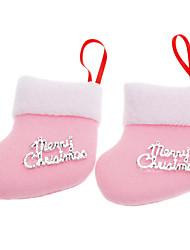 2PCS rose Chaussettes Décoration de Noël décorations de noël