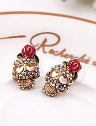 Brincos Curtos Jóias de Luxo Europeu imitação de diamante Liga Formato de Flor Caveira Rose Jóias Para Diário