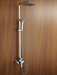 Chrome Finish Wall Mounted Shower Faucet with 8 inch Square Rain Shower