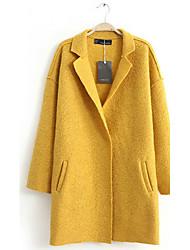 Traum Frauen Mode Loose Fit Tweed-Mantel (Gelb)