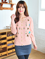 Yihuasha Fashion Floral Print Long Sleeve Sweater