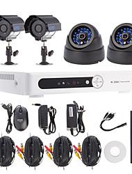 D1 du canal 4CH DVR kit système de sécurité (2pcs +2 pcs dôme / balle caméras avec 420TVL CMOS 1/4)