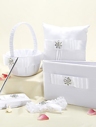 White Wedding Collection With Floral Rhinestone and Bow(5 pieces set)