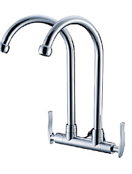 Double Stainless Steel Spouts Double Handles Kitchen Faucet