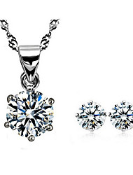 Silver Flower Earrings & Necklace Jewelry Set