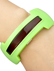 Unisex Red LED Lathy Dial Rubber Band Bracelet Watch (Assorted Colors)